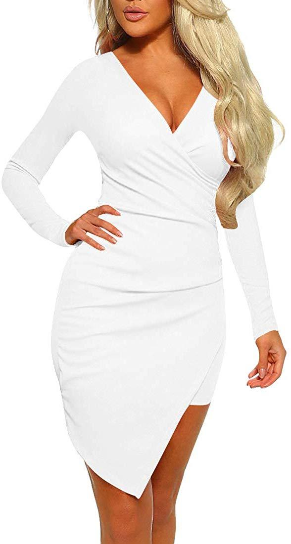 Mizoci Women's Casual Warp Front Cocktail Party Dress Bodycon Sexy Ruched Mini Club Dresses