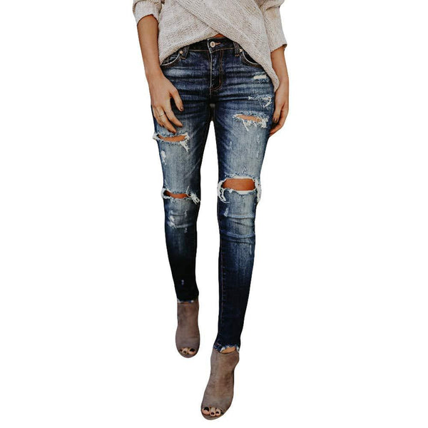 TOPUNDER Hight Waisted Ripped Jeans Women Skinny Hole Denim Jeans Destroyed Slim Pants