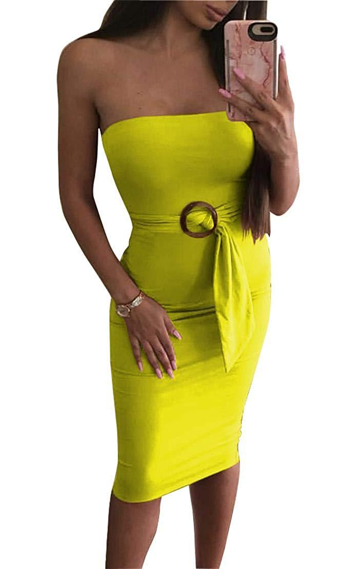 SINRGAN Women's Basic Sleeveless Tube Top Sexy Strapless Bodycon Midi Club Dress