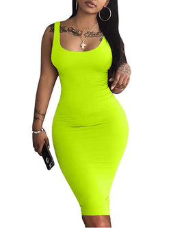 LAGSHIAN Women's Sexy Bodycon Tank Dress Sleeveless Basic Midi Club Dresses 1