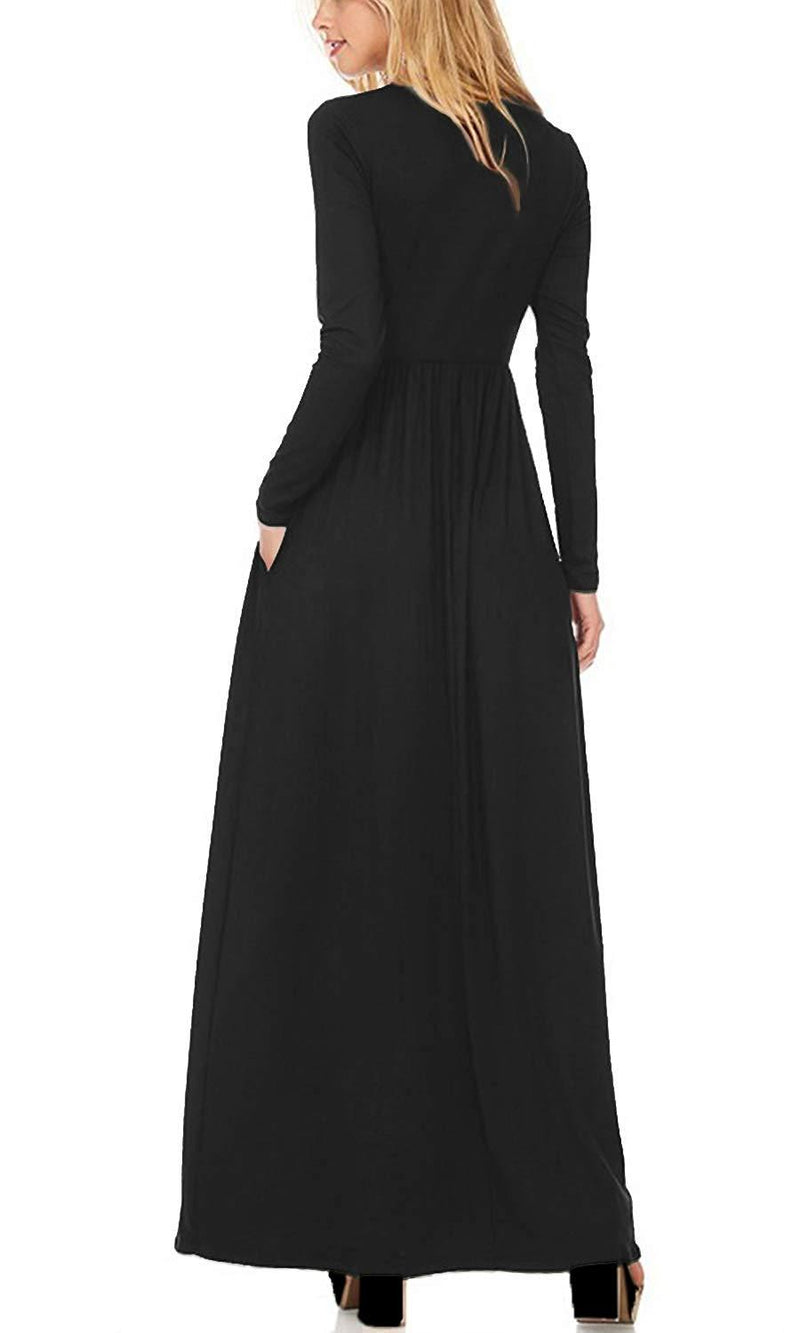 H C Women LongShort Sleeve Loose Plain Casual Long Maxi Dresses with Pocket 1