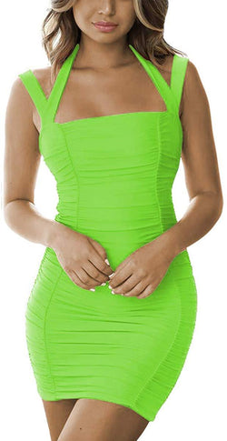 Antopmen Women Summer Scoop Neck Spaghetti Strap Cold Shoulder Sleeveless Cutout Ruched Bodycon Mini Club Dress