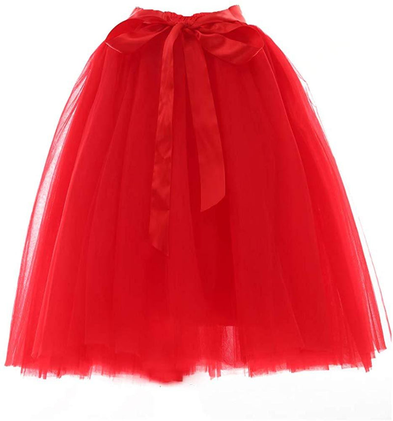 Women's Summer Fairy Knee Length Tulle Skirt Pleated Wedding Bridesmaid Sister Tutu Costume