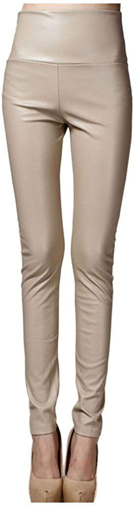 Lotus Instyle Thick High Waist Faux Leather Leggings Women Leather Pants
