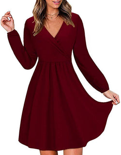 casuress Women's V Neck Long Sleeve Knee Length Casual Party Short Skater Dress Plain A Line Dresses with Pockets