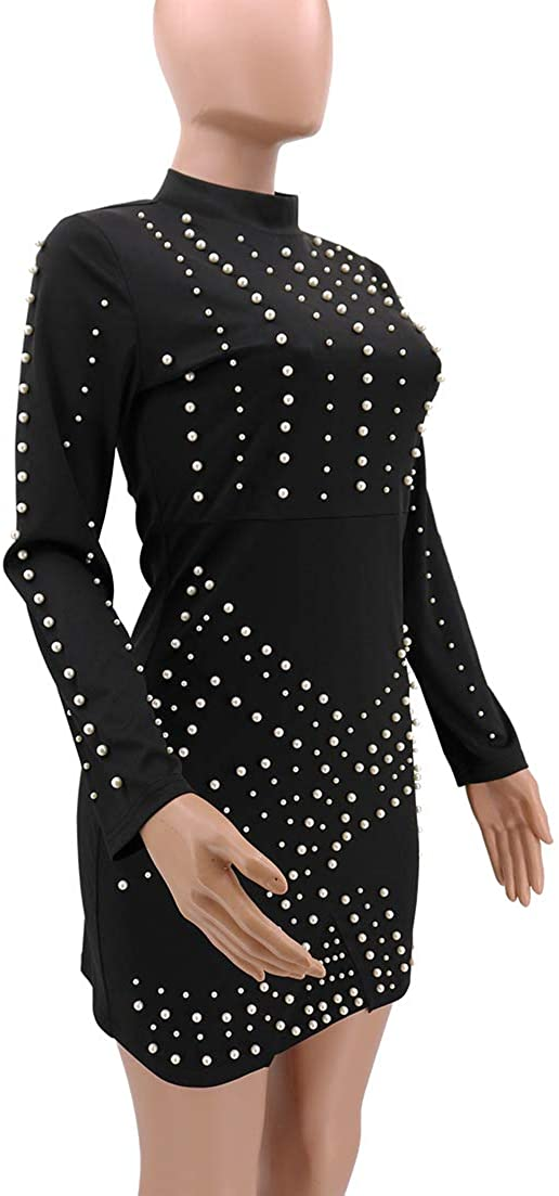 Speedle Pearls Dresses For Women Cocktail Long Sleeve Bodycon Mini Dress
