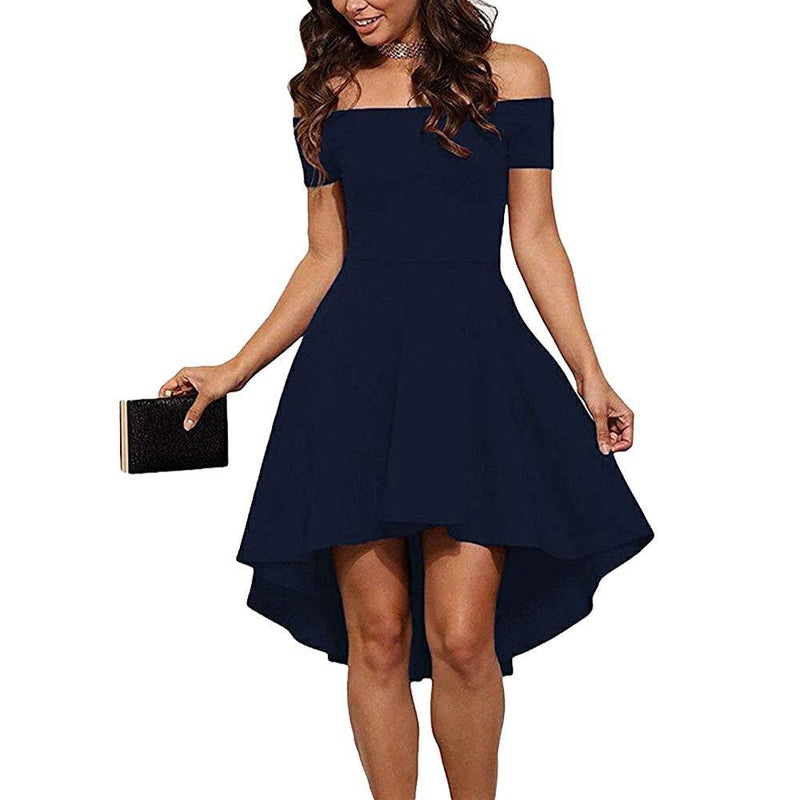 CUQY Womens Off The Shoulder High Low Hem Cocktail Skater Wedding Party Teen Formal Dresses