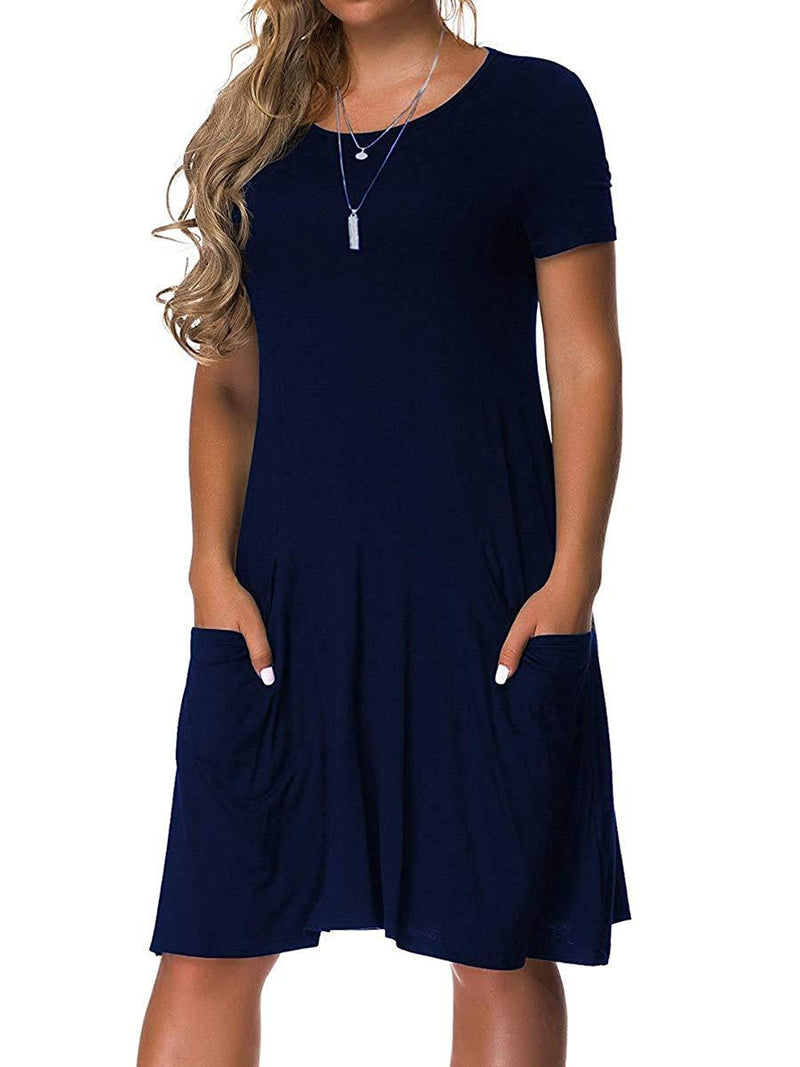 VERABENDI Women's Plus Size Long Short Sleeve Dress Casual Loose Pocket T-Shirt Dress