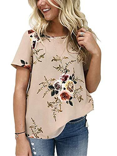 kigod Women's Casual O Neck Floral Print T-Shirt Chiffon Short Sleeve Tops Blouse for Summer