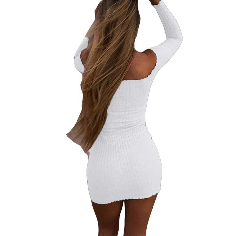 Susupeng Women's Off The Shoulder Ruched Long Sleeve Ribbed Bodycon Buttons Sexy Mini Dress