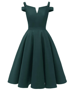 Women's Cold Shoulder Vintage 1950s V-Neck Cocktail Party Swing Dress A Line Working Wedding Guest Prom Stretchy Midi Dress