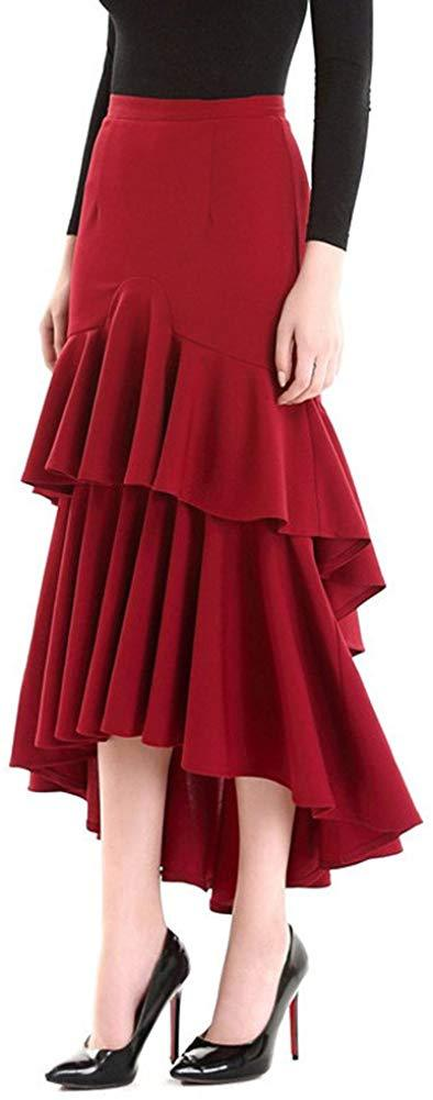 YSJERA Women's High Waist A-Line Pleated Maxi Skirts Party Swing Skirt with Pockets