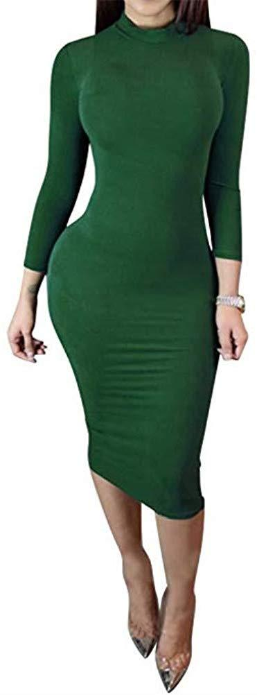 laiyuan Women's Turtleneck Bodycon Midi Dress-Long Sleeve Sexy Wrap Slim Elasticity Club Dress