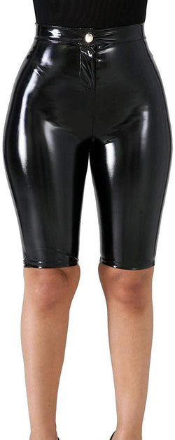 VNVNE Women's Latex Capri Shorts,Sexy High Waist Bodycon PU Leather Shiny Wet Look Faux Leather Pants