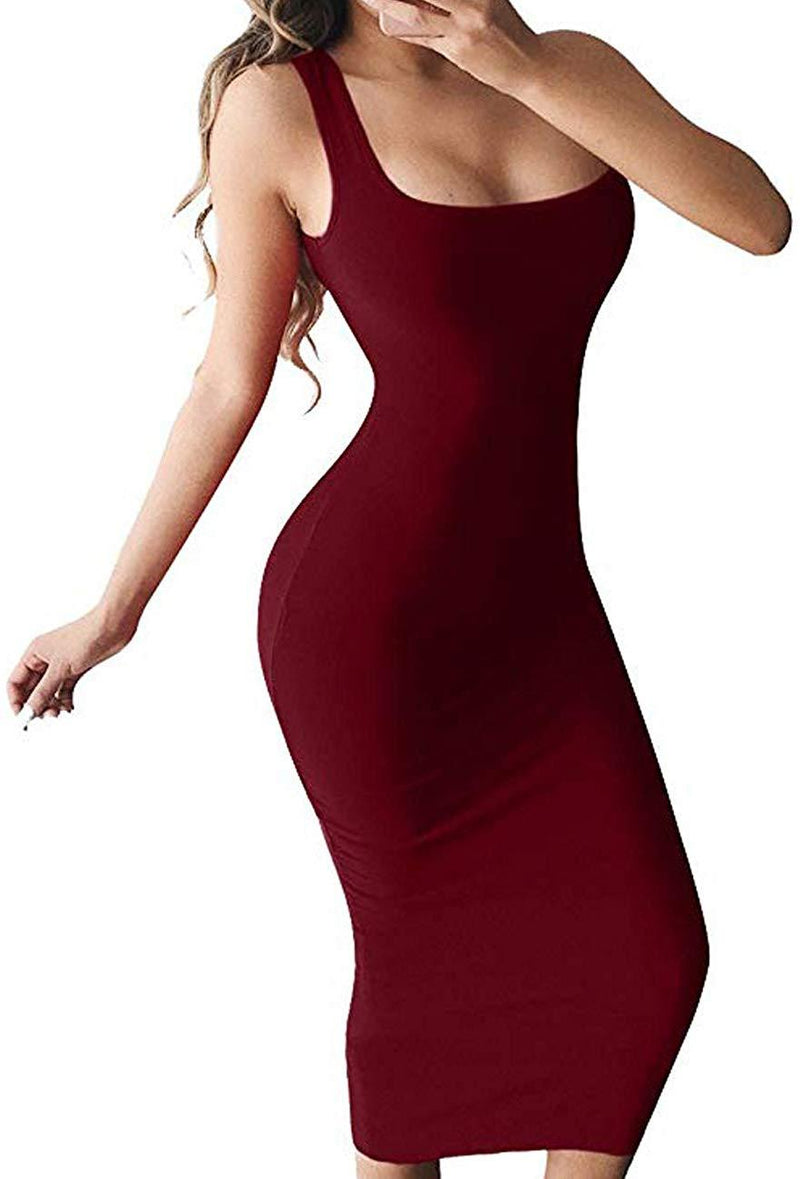 Haola Women's Basic Bodycon Tank Dress Sexy Casual Sleeveless Solid Long Club Dress
