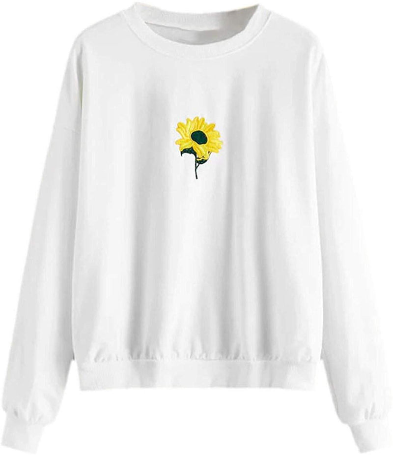 ROMWE Women's Long Sleeve Floral Print Embroidery Causal Pullover Sweatshirt