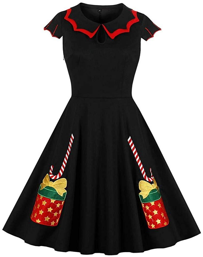 LeaLac Women's Christmas 1950s Vintage Dress High Waist Casual Party Cocktail Swing Dress