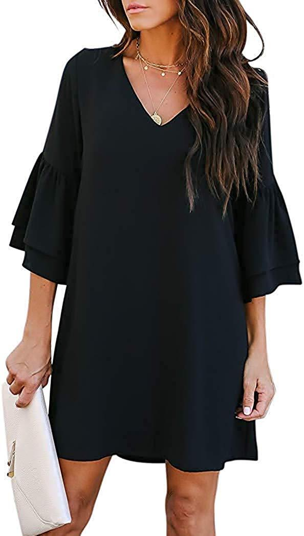 Misyula Style Women Chiffon Bell Sleeve V Neck Casual Loose Shift Mini Dresses