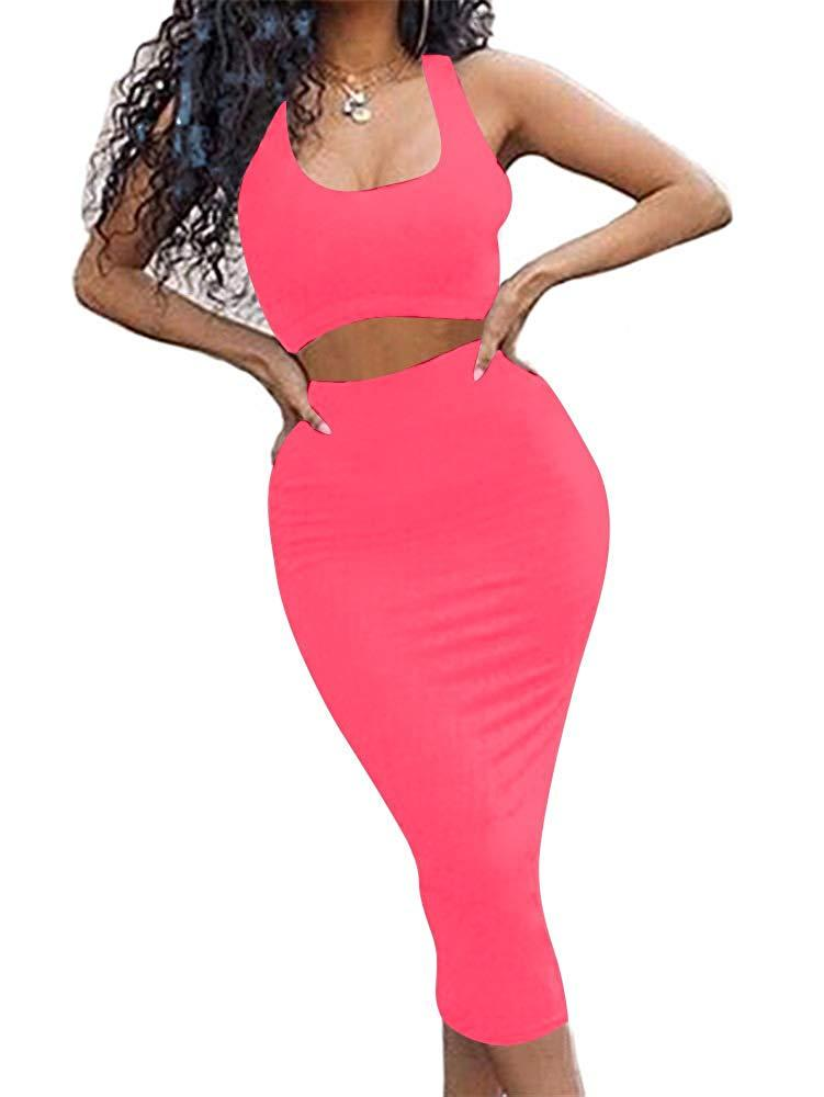 GOBLES Women's Sexy Summer Outfits Bodycon Tank Top Midi Skirt 2 Piece Dress