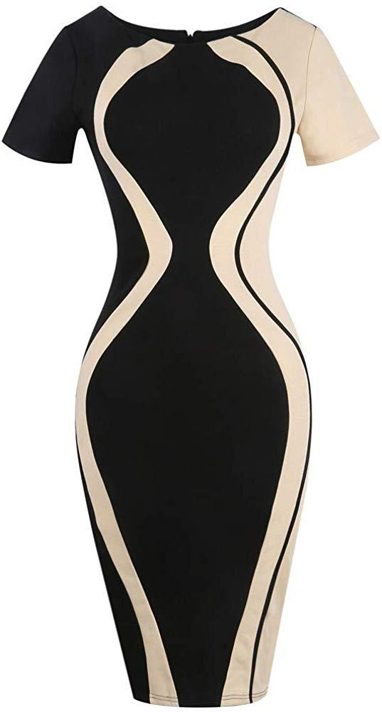 Quealent Womens Casual Striped Print Wear to Work Office Career Sheath Dress Business Pencil Party Mini Dresses