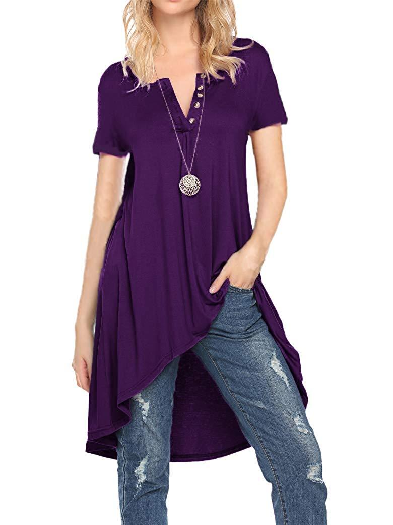 Naggoo Women's Half Sleeve High Low Loose Fit Casual Tunic Tops Tee Shirt Dress
