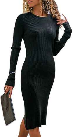 Nulibenna Womens Bodycon Sweater Dress Long Sleeve Crew Neck Ribbed Knit Mini Dress