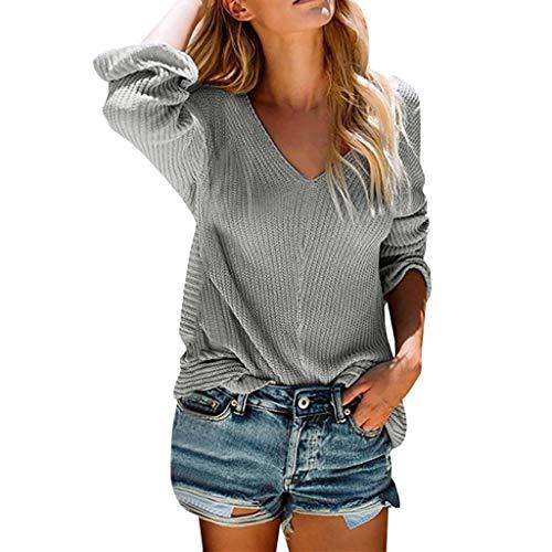 COOKI Women's Sweaters Pure-Color Long Sleeve Sexy V-Neck Knit Sweater Loose Knitted Pullover Sweaters Jumper Tops