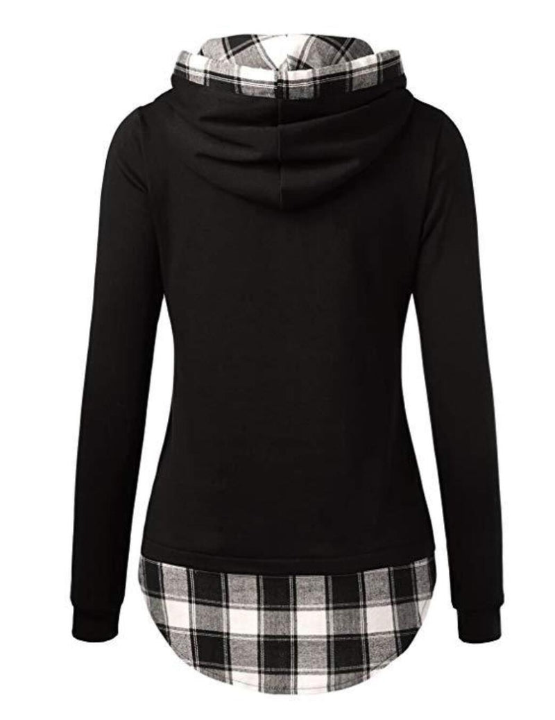 DJT Womens Funnel Neck Check Contrast Pullover Hoodie Top