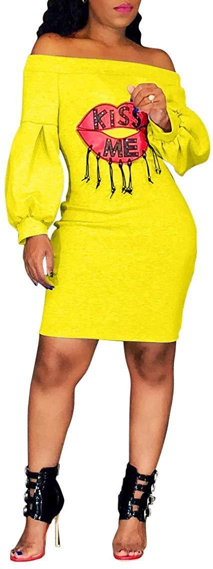 Ophestin Women Sexy Off The Shoulder Lip Letters Printed Puff Long Sleeve Bodycon Midi Long Dress