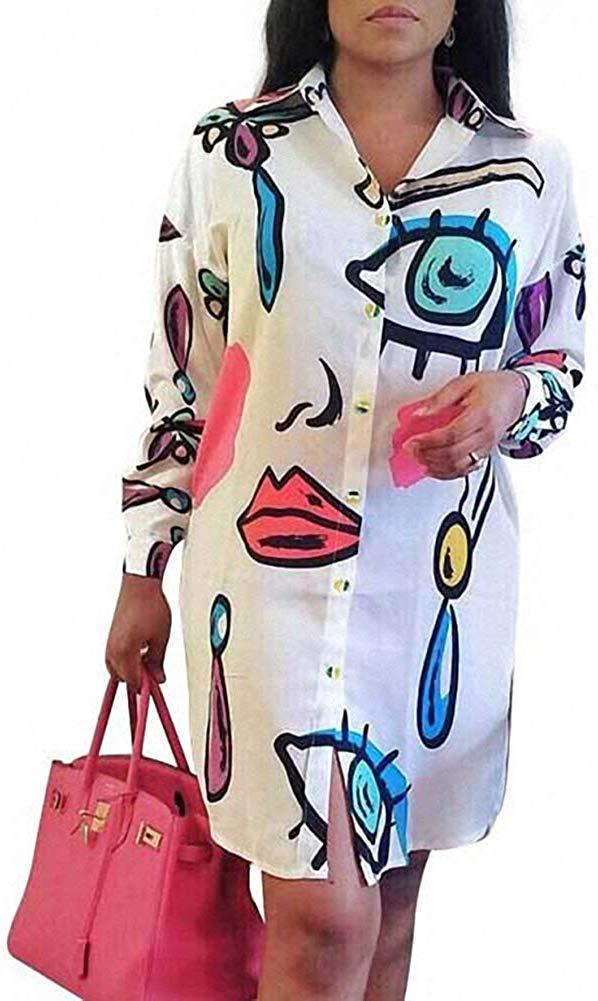 Remelon Womens Floral Print Button Down Collar Long Shirt Dress Blouse Mini Dress 1