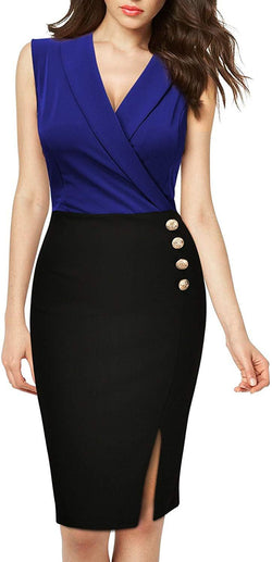 MISSMAY Women's Business Lapel Sleeveless Cocktail Party Pencil Dress