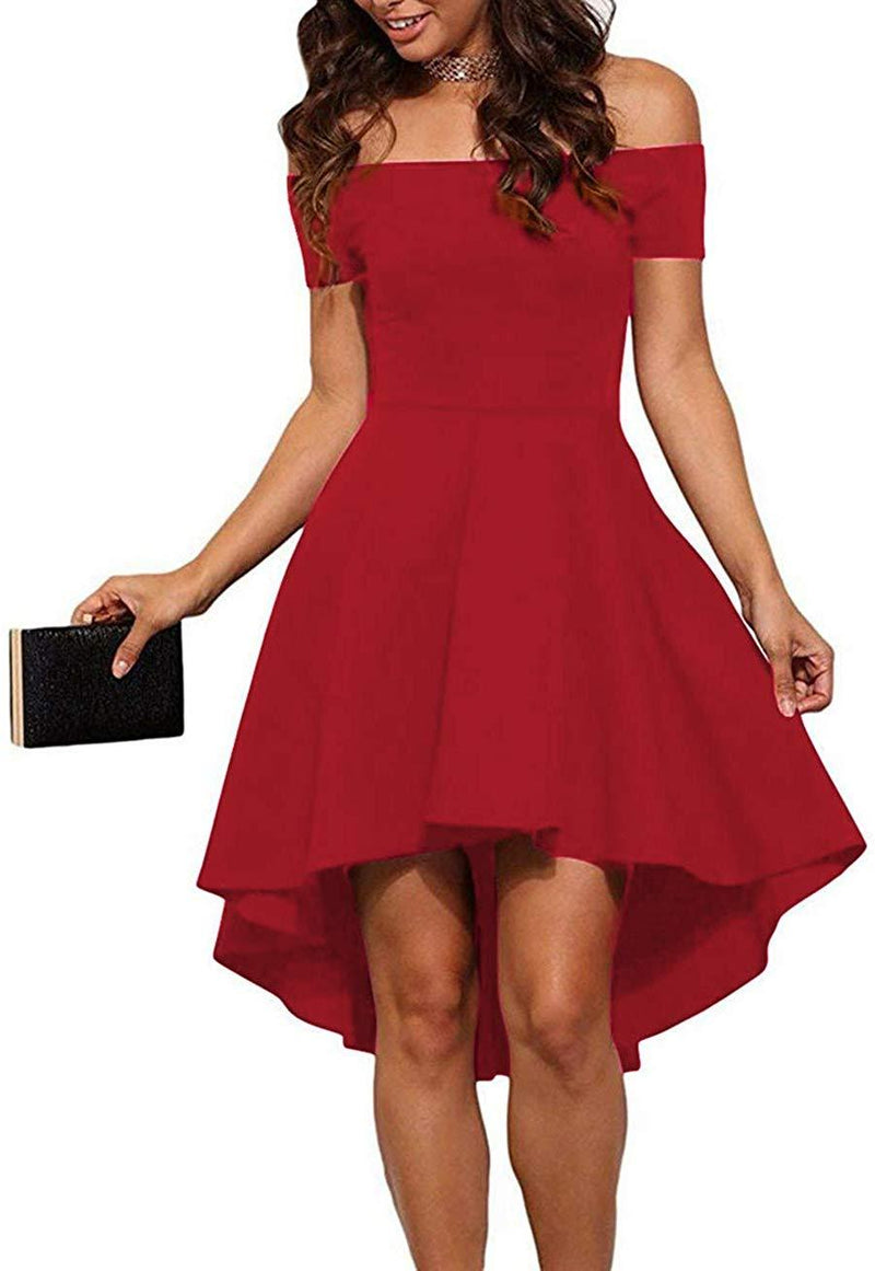 Sarin Mathews Womens Off The Shoulder Short Sleeve High Low Cocktail Skater Dress