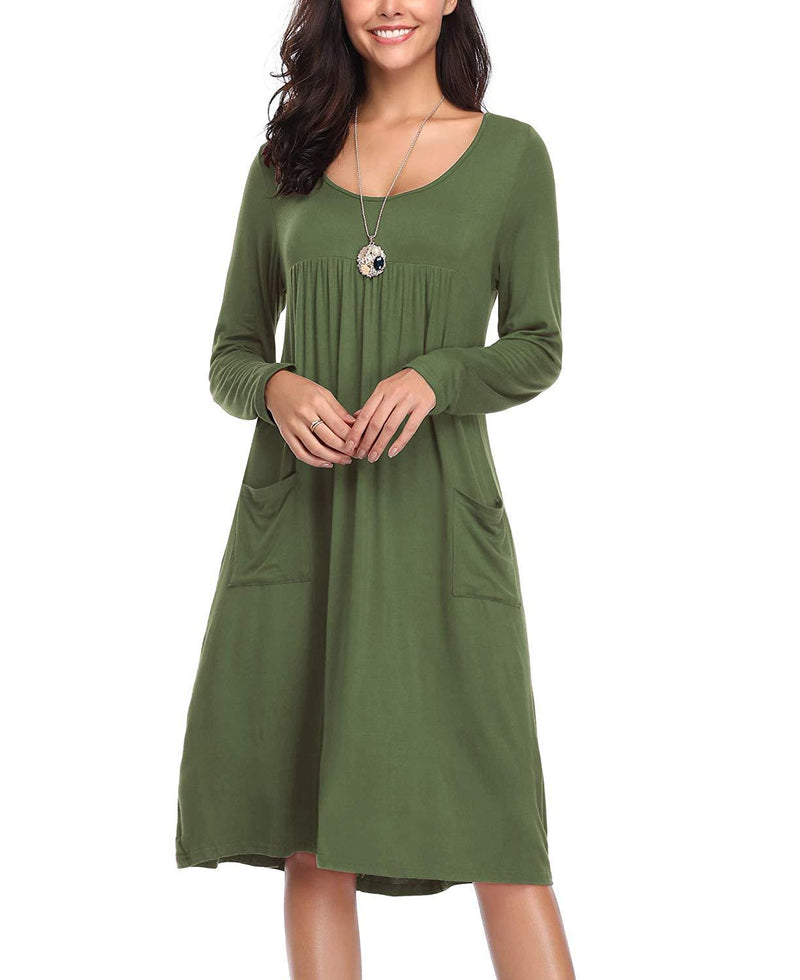 LEORAY Women's Long Sleeve Pockets Casual Loose Swing Dress