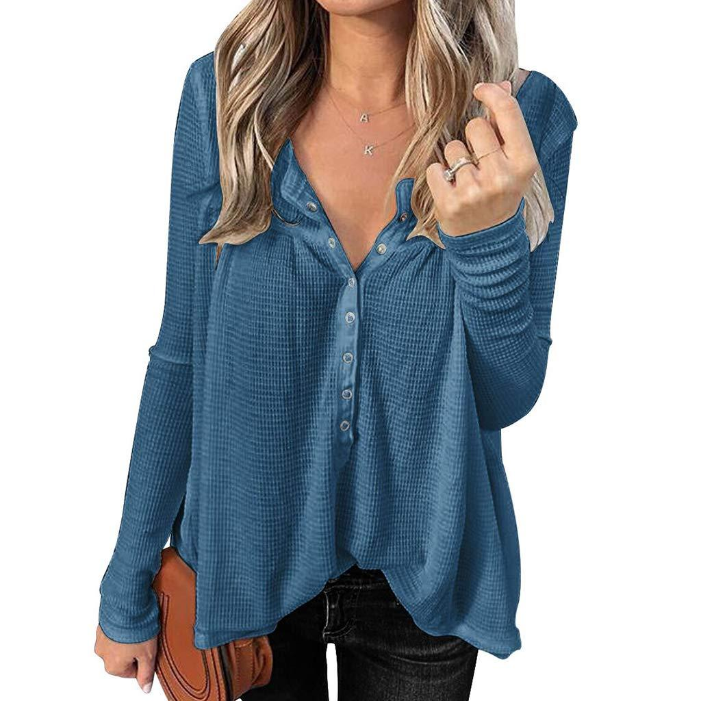 Iussurin Women's Waffle Knit Shirts Long Sleeve Henley Top Casual Tunic Button Down Sexy V Neck Blouses Loose image