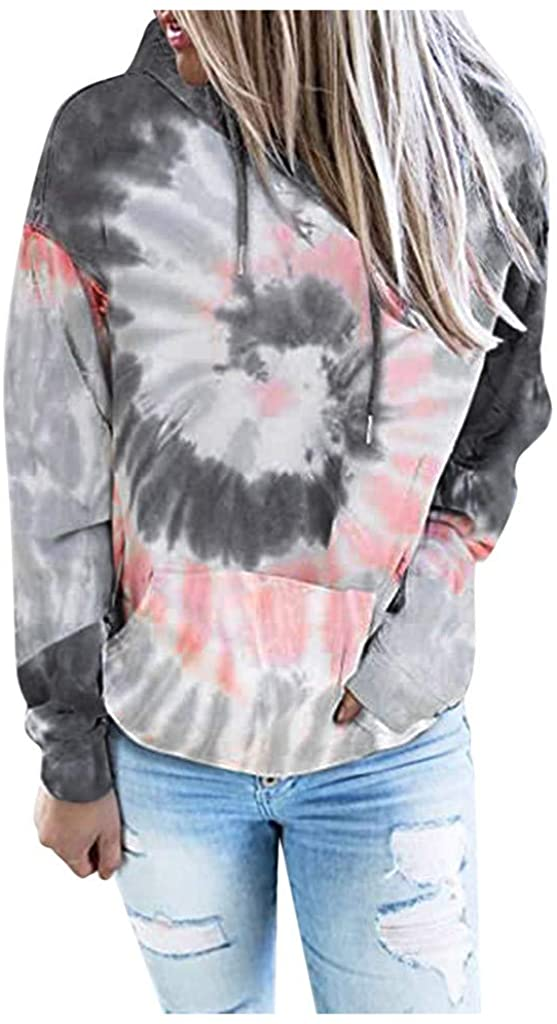 Handyulong Women's Hoodies Long Sleeve Tie Dye Sweatshirts Teen Girls Casual Hooded Pullover Jumper Tops with Pockets 1