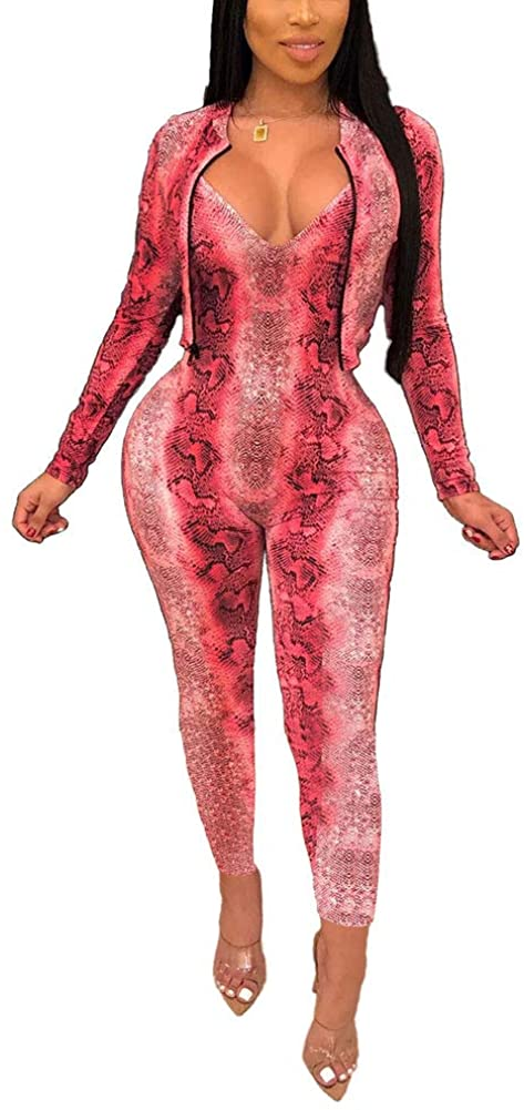 ECHOINE Women's Sexy Bodycon Jumpsuits Long Sleeve Jacket Long Rompers 2 Piece Outfits Snake Print V-Neck Clubwear