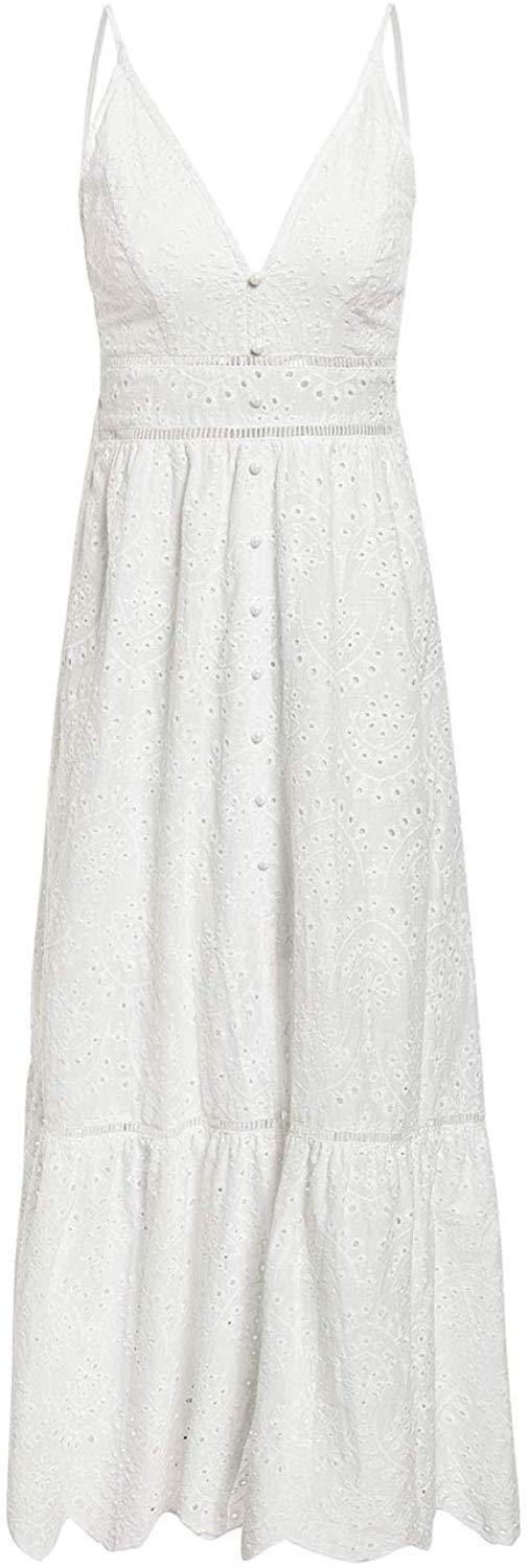 BerryGo Women's Embroidery Pearl Button Down Dress V Neck Spaghetti Strap Maxi Dress
