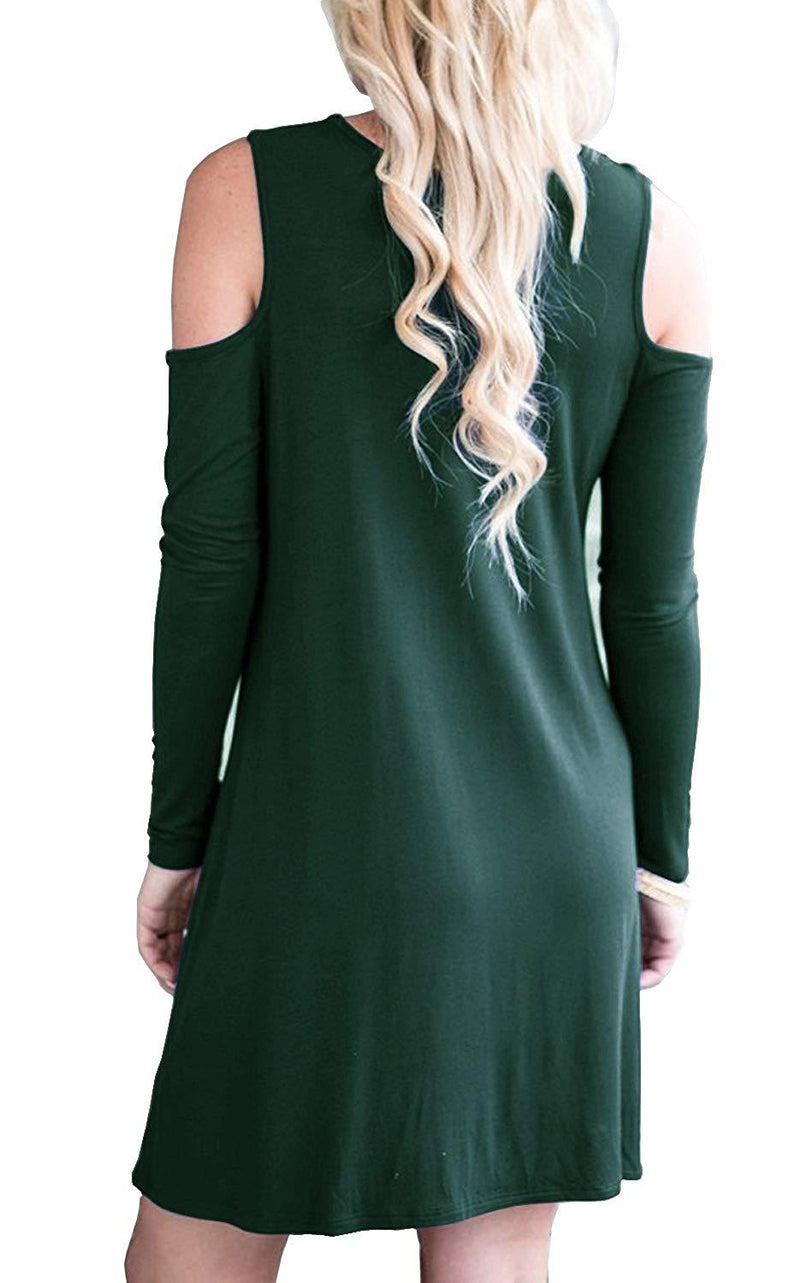 QIXING Women's Long Sleeve Cold Shoulder Tunic Top Swing T-Shirt Loose Dress with Pockets 1