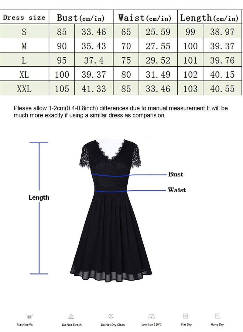 oten Women Floral Lace Cross V Neck Pleated Sewing Skater Dress for Party