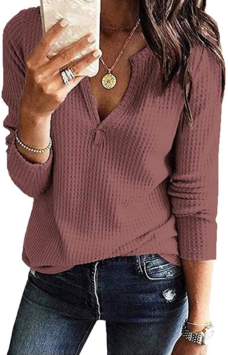 BLUETIME Womens Waffle Knit Tunic Tops Long Sleeve Loose V Neck Shirts Blouse