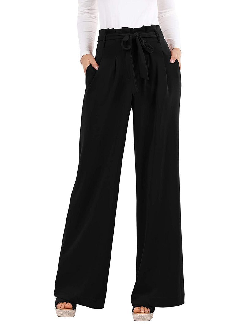 Lynwitkui Womens High Waisted Wide Leg Pants Palazzo Casual Belted Lounge Trouser with Pockets