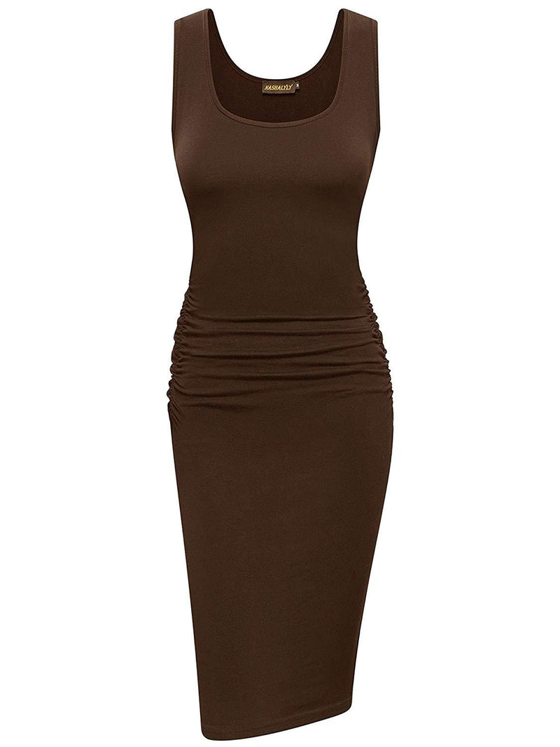 NASHALYLY Women's Casual Sexy Ruched Bodycon Tank Dress Basic Knee Length Club Dresses 1