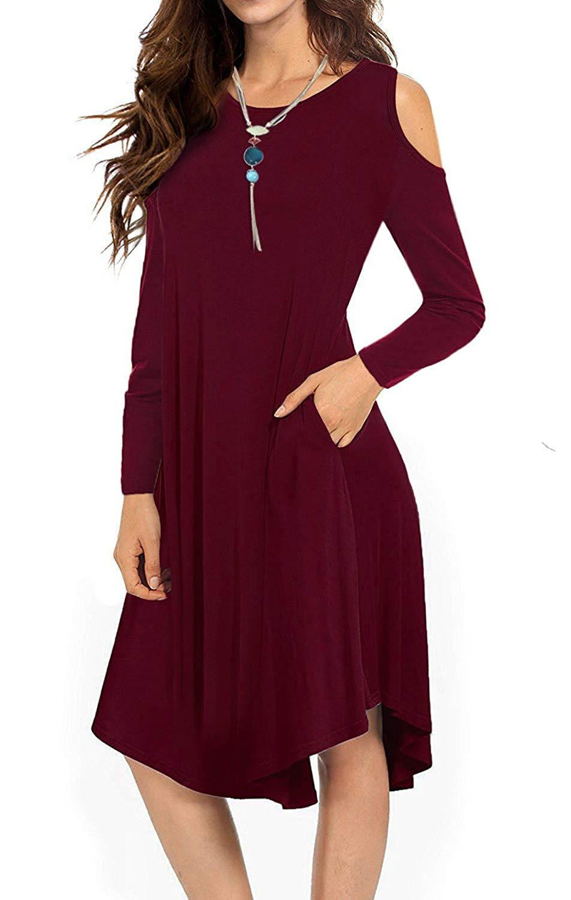 VERABENDI Women's Casual Cold Shoulder Midi Dress Long Sleeve Swing Dress with Pockets
