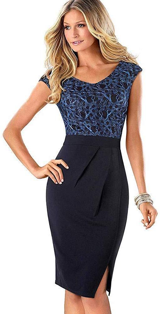 MisShow Women's Appliqued Lace Pencil Dress Wear to Work Patchwork OL Dress