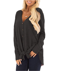 Eanklosco Tie Knot Tops Womens Waffle Knit V Neck Blouse Button Down Long Sleeve Henley Shirt