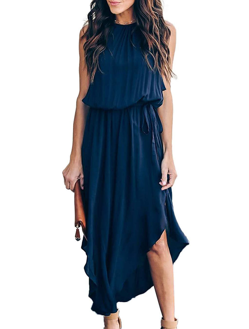 Mlebr Womens Casual Chiffon Halter Sleeveless Slit Midi Dresses