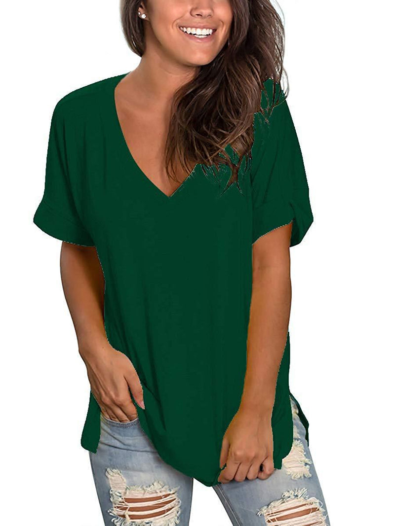 Women's T Shirts Short Sleeve V Neck Loose Casual Basic Tee Tops Summer T-Shirt
