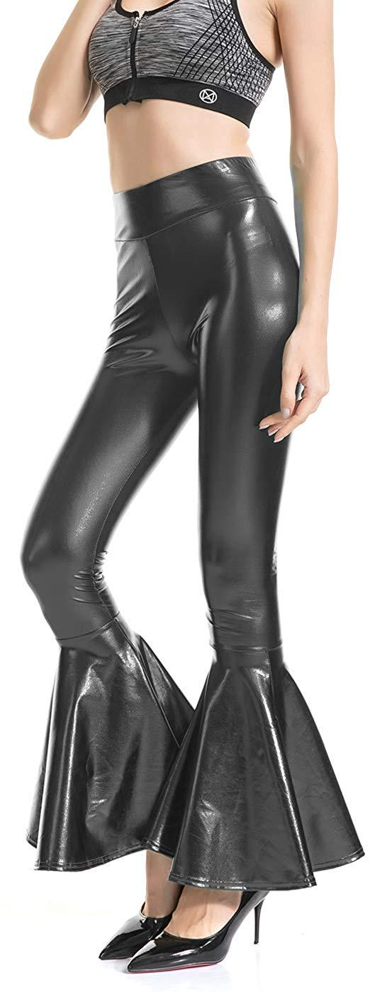 Shiny Metallic High Waist Skinny Flare Bell Bottom Pants for Women, Wet Look Mermaid Stretchy Trousers Club Wear