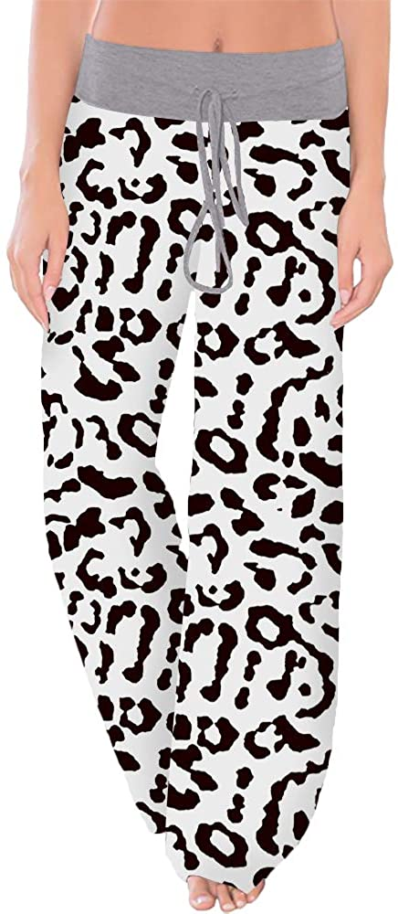 Nimsruc Women's Pajama Lounge Pants Printed Comfy Casual Stretch Palazzo Drawstring Pj Bottoms Pants Wide Leg