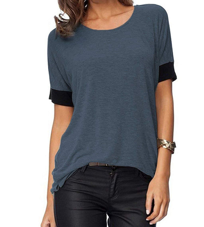 Sarin Mathews Women's Casual Round Neck Loose Fit Short Sleeve T-Shirt Blouse Tops